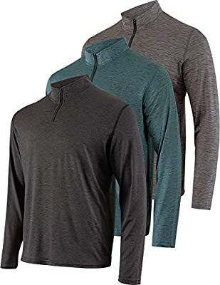 Mens Quarter 1/4 Zip Pullover Long Sleeve Athletic Quick Dry Dri Fit Shirt Gym Running Performance Golf Half Zip Top Thermal Workout Sweatshirts Sweater Jacket - 3 Pack-Set 4,XL