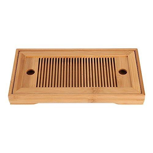 Greenbang Mesa de té de bambú japonés/chino, gongfu japonés, bandeja de servir, tipo depósito y drenaje para casa de té, oficina en casa