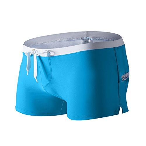 AustinBem Herren Badehose, Gesäßtaschen-Design, Schwimmhose für Schwule und Männer 223 - Blau - US Small/Etikett Medium (68.58 cm -78.74 cm)