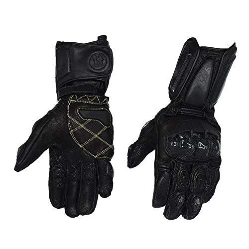 Tany Motorrad Ritter Handschuhe, Kohlefaserhandschuhe aus Schaffell, Winddichte wasserdicht Handschuhe, Rennfahrerhandschuhe, Schwarz und Weiß, mehrere Größen,Schwarz,L