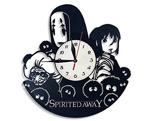 LiSh-EC Creativo Silencioso Reloj de Cuarzo Vinilo Disco CD Registro Reloj de Pared Decoración Qian y Chihiro Sin Cara Hombre Regalo de Vinilo Novedad Reloj