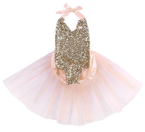 Hotone Baby Girls Sequins Bodysuit Romper Jumpsuit Summer Sunsuit Outfits (6-12 Months, Pink)