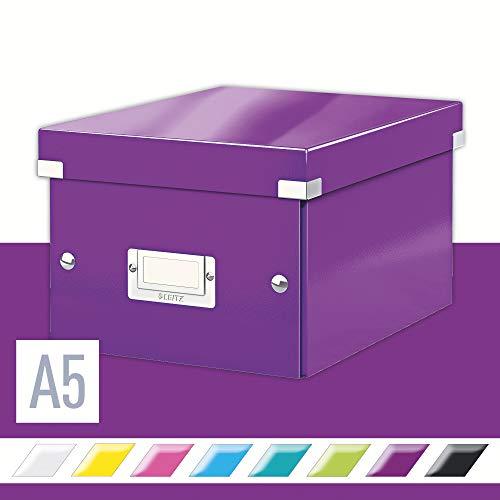 Leitz, Kleine Aufbewahrungs- und Transportbox, Lila, Mit Deckel, Für A5, Click & Store, 60430062
