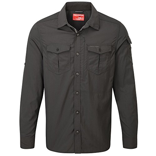 Craghoppers NosiLife Adventure Langarm Hemd Men - Outdoorhemd, Black Pepper, Gr.50