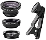Superdaze Mobile Camera Macro Lens and Wide Angle Lens and Fisheye Lens Clip-on Cell Phone Camera Lens for Smartphone