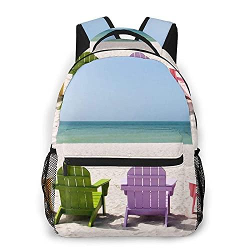 VJSDIUD Mochila informal, sillas al lado del cielo azul marino impreso Mochila ligera informal Mochila de moda para viajes deportivos