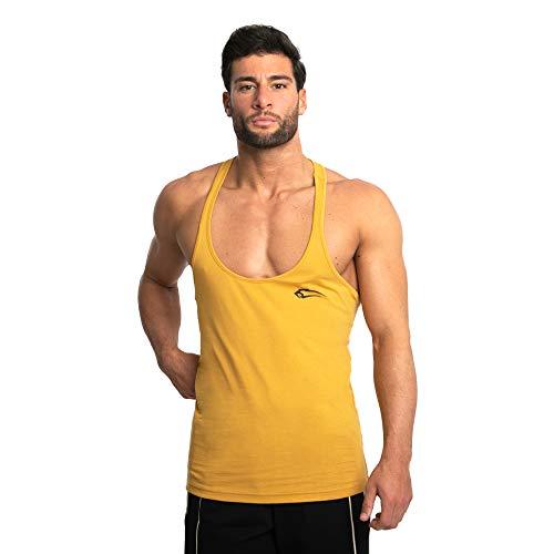SMILODOX Herren Stringer Base | Casual Top | Klassisches Design | Top für Sport Fitness Gym & Training | Tanktop mit Logo | Kurzarm | Rückenfrei, Farbe:Gelb, Größe:XXXL