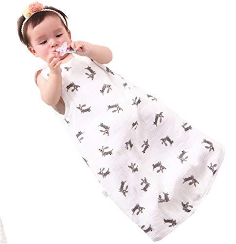 Chilsuessy Sommerschlafsack Baby Schlafsack Sommerschlafsack 0.5 Tog Kinder Schlafanzug Babyschlafsack Ärmellos für Neugeborene 100% Baumwolle, Hund, L/Baby Höhe 80-90cm