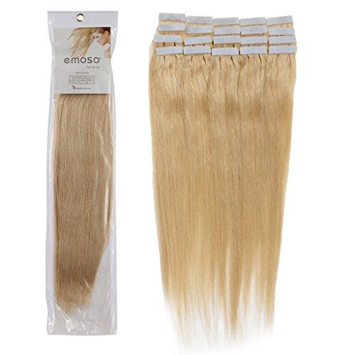 16 inch Emosa Remy Stright PU Tape Skin Seamless Human Hair Extensions #24 Dark Blonde 100g