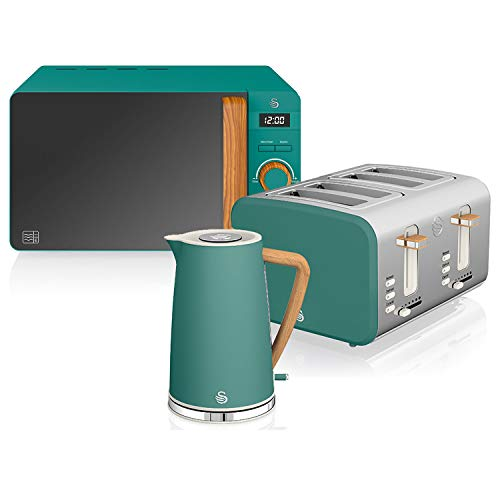 Swan Nordic Set Desayuno Hervidor de agua 1,7L 2200W, Tostadora Pan ranura ancha 4 rebanadas, Microondas 20L digital, diseño moderno, efecto madera, verde mate