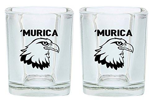 Funny Shot Glasses Murica Bald Eagle Merica Funny Patriotic 4th of July Gift Shot Glasses 2-Pack Square Shot Glass Set Black
