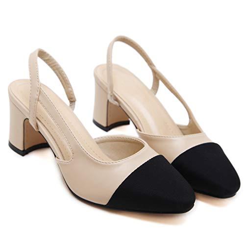 Good Night Elegante Donne Giuntura Blocco del Tallone in Pelle Morbida Slingback Sandalo Pompe per Vestiti (39 EU, Beige 1)