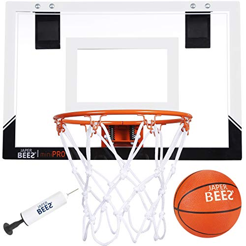 JAPER BEES Indoor Mini Basketball Hoop Over The Door & Wall Mount Indoor Basketball Hoop w/Shatterproof Backboard(Mini Pro) …
