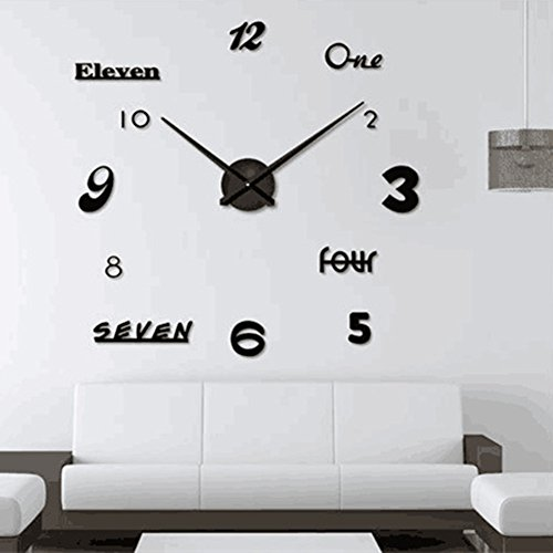 Asvert Reloj Pared Adhesivo DIY 3D Silencioso de Material Acrílico con Números Adhesivos (Efecto de Espejo) y Agujas EVA para Decoración de Hogar (Plata)