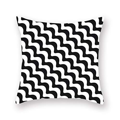 Stella nieuwe vrijgegeven huis zwart en wit geometrisch rooster kussensloop digitale afdrukken auto bank bed kussen vierkante kussensloop (18 X 18 In)
