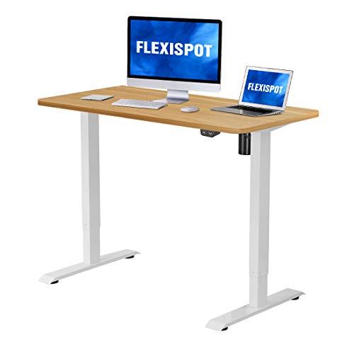 Flexispot Height Adjustable Desk, Electric Sit Stand Desk Home Office Table Standing Desk Computer Workstation (42x24 White Frame + Natural Desktop)