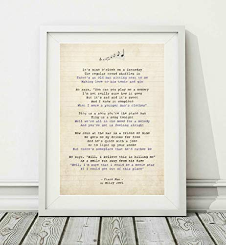 Didymus Co Billy Joel - Piano Man - Song Lyric Art Poster Print (UNFRAMED) - Maten A4 A3