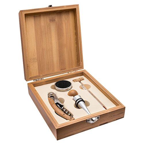 Schmalz Weinset Bambus 4-teilig Kellnermesser inkl.Wunschgravur Gravur graviert, Weinset Thermometer, Flaschenverschluss, Tropfring (ohne Gravur)