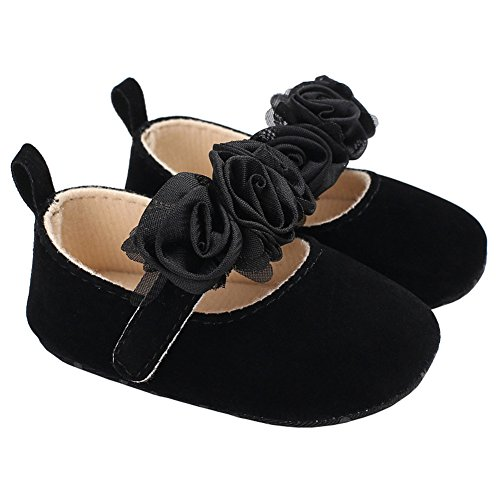 Baby Girls Suede Rose Mary Jane Princess Dress Shoes Crib Shoes for Photos Black Size M