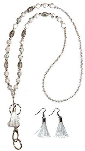 Tassel Women's Lanyard Fashion Necklace Beaded or Stainless Steel Chain Strong Badge ID Holder, Keys. 34 inches Long (Beaded White Tassel - Non Breakaway - Stronger)
