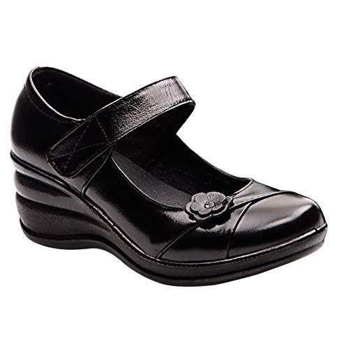 Daytwork Zapatos para Mujer Merceditas - Punta Redonda Plataforma Tacón de cuña Comodidad Tira de Tobillo Cuero Bombas Retro Zapatos de Baile de Vestir