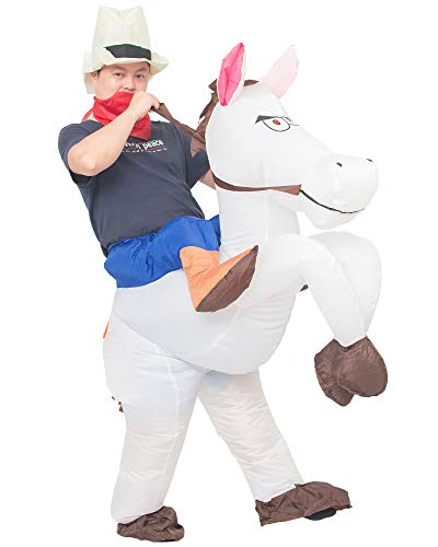 JYZCOS Inflatable Cowboy Costume Western Whit Horse Fancy Dress for Men Women Halloween Party Suit (Adult White)