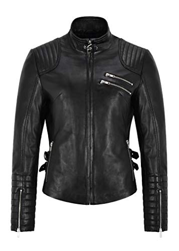 Smart Range Leather Chaqueta de Cuero para Mujer Tops Casuales Negros Chaqueta de Cuero Genuino con Cremallera Superior 4952