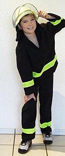 Kinder Feuerwehr-mann Kostüm Gr. 128 Feuerwehr-Kostüm Feuerwehr-Uniform Hose Jacke Fasching-Kostüm Karneval-Verkleidung THW Anzug zum Feuer-Löscher Feuerwehr-Helm