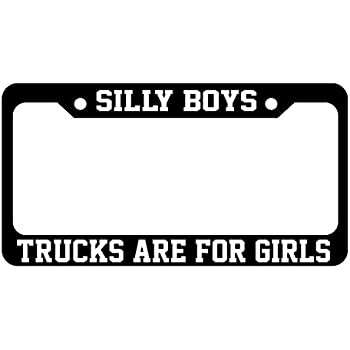 RED Auto Black METAL License Plate Frame Silly Boys Truck Are For Girls