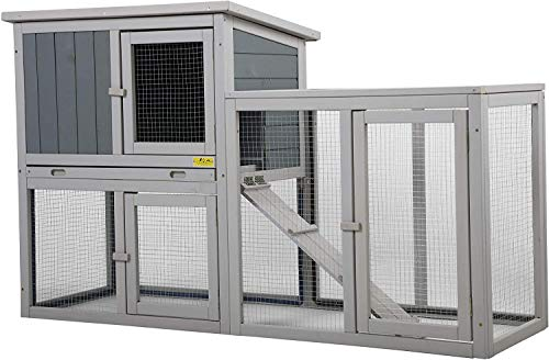 COZIWOW Indoor/Outdoor Rabbit Hutch,Small Animal Houses & Habitats, Large Bunny Cage with Removable Tray, Two Story...