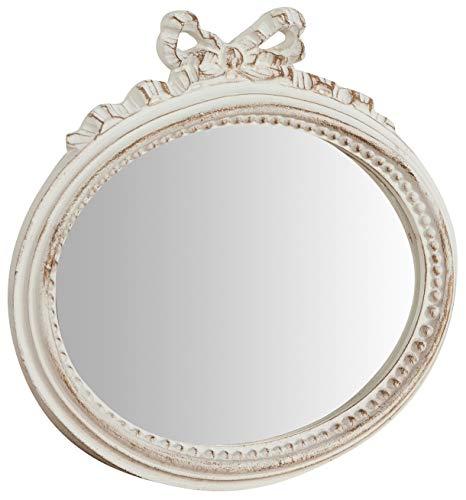 Biscottini Specchio Specchiera da parete stile Shabby in legno con finitura bianca Anticata misure L28xPR3xH27 cm produzione Artigianato Fiorentino Made in Italy