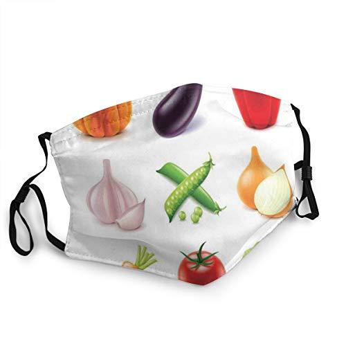 Wiederverwendbar und waschbar,Facial Comfortable Windproof,Vegan Menu Pumpkin Eggplant Pepper Tomato Garlic Bunch of Organic Farm Elements,zum Radfahren,Camping, Reisen,Einheitsgröße