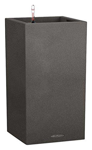 Lechuza CANTO Stone 30 high, Graphitschwarz, Hochwertiger Kunststoff, Inkl. Bewässerungssystem, Herausnehmbarer Pflanzeinsatz, Für Innen- und Außenbereich, 13602