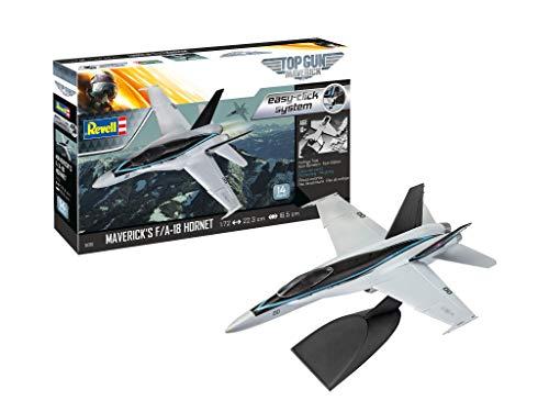 Revell 04965 F/A-18 Hornet Top Gun originalgetreuer Modellbausatz für Einsteiger, mit dem Easy-Click-System, farbig