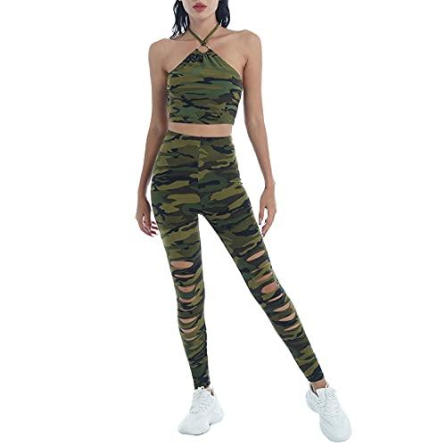 inhzoy Traje Deportivo de Verano de 2 Piezas para Mujer Traje de Yoga Baile Top sin Mangas o Manga Larga y Pantalones de Cintura Elástica Verde A M