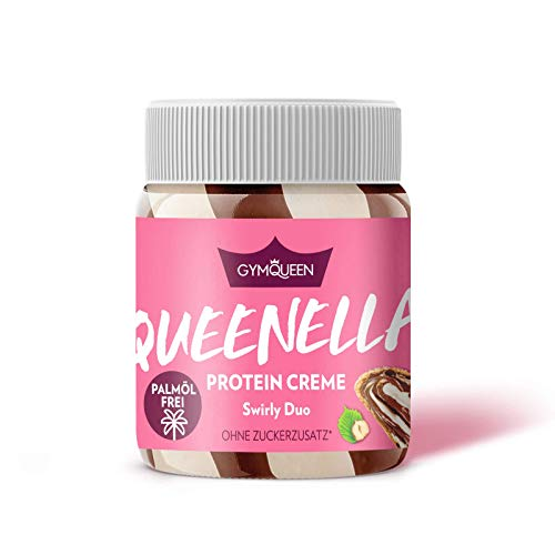 GYMQUEEN Queenella 250g Swirly Duo / Protein Aufstrich mit 21% Eiweiß / Haselnuss-Creme ohne Zuckerzusatz / Brot-Aufstrich ohne Palmöl mit bestem Whey Protein
