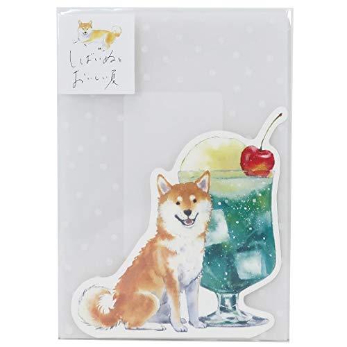 グリーティングカード[封筒付き ダイカット サマーカード]柴犬とおいしい夏/クリームソーダ