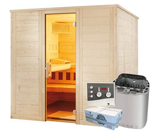 Well Solutions Saunakabine Wellfun Large inklusive Bi-o Sauna-Technik Saunaofen und Steuerung