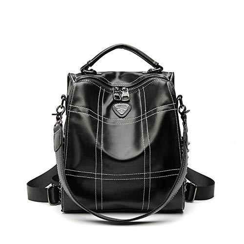 XZJY Mochila retro de cuero femenina moda coreana mochila de viaje suave seguridad marea-negro