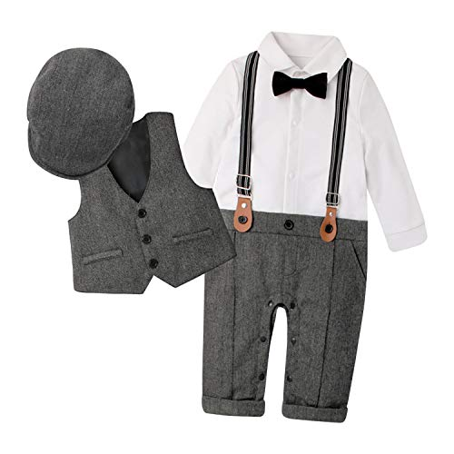 De feuilles 3pcs Bekleidungssets Unisex Kinder Kleidungssets Strampler + Weste + Hut Fliege Krawatte Gentleman Set Anzug Hochzeit Festliche Taufe