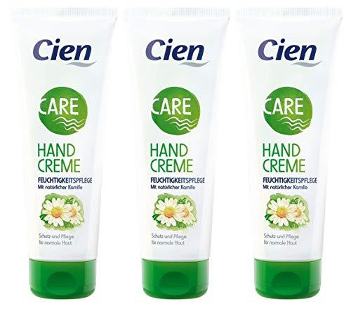Cien Care Handcreme Feuchtigkeitspflege mit natürlicher Kamille, 3er-Pack (3 x 125 ml)