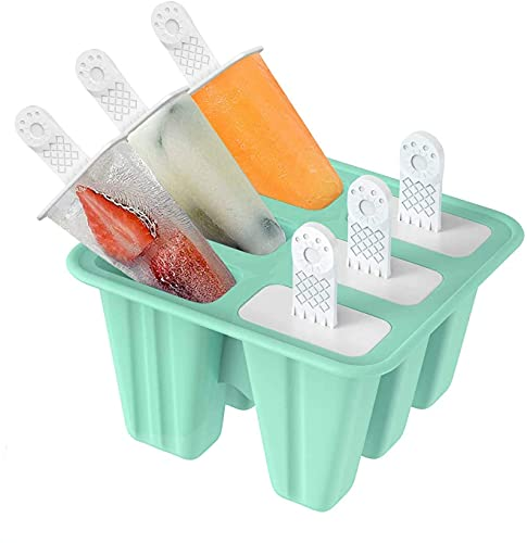 Ice Lolly Moulds, SUFUS Popsicle Molds Set, 6 Ice Lolly Makers and Sticks Silicone, LFGB Certified BPA Free Ice Cream Moulds with Non-Spill Lid Reusable Ice Pop Mould for Kids Adults DIY Popsicle Mold