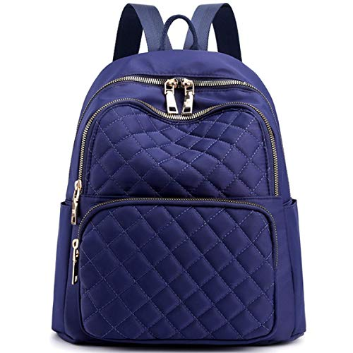 SHENBEIK Rucksack Umhängetasche Frauen Wasserdichte Schultasche aus Nylon Lässige Damen Rucksäcke Kleiner Rucksack Damen Alarmanlage,Blu