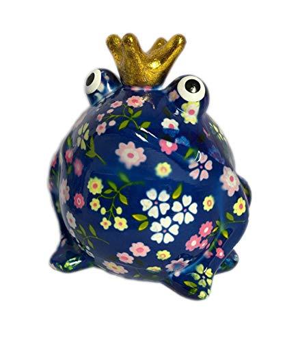 Pomme Pidou Spardose Frosch Froschkönig blau Blume 15x17 cm Sparbüchse Geldgeschenk