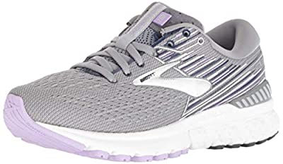 Brooks Womens Adrenaline GTS 19 Running Shoe - Grey/Lavender/Navy - B - 8.0