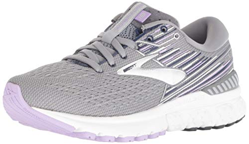 Brooks Womens Adrenaline GTS 19 Running Shoe - Grey/Lavender/Navy - B - 8.0