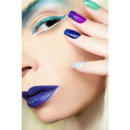 JHGJHK Pintura nórdica Imagen en Color de uñas salón de uñas Moderno Arte de Pared de Moda Pintura Imagen Impresa Cartel salón de Belleza decoración Pintura al óleo (Imagen 3)