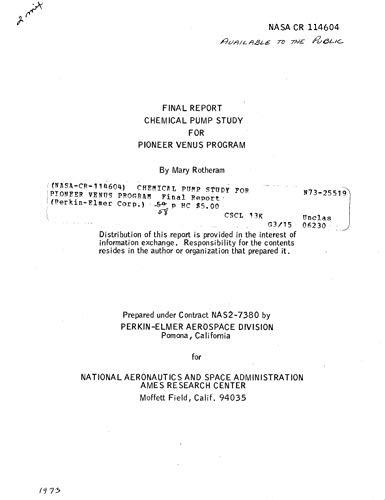Chemical pump study for Pioneer Venus program (English Edition)