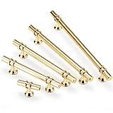 6 Stück Möbelgriffe Küchengriffe Schrankgriffe Handgriff für Bücherschrank Kleiderschrank Schubladen Zinklegierung (Gold,128mm)