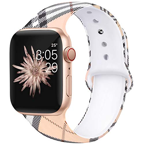 Kaome Floral Bands Compatible with App le Watch Band 38mm 40mm, Soft Silicone Fadeless Pattern Printed Replacement Strap Bands for Women, Compatible with iWatch Series 5/4/3/2/1, S/M